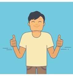 Young guy demonstrates thumbs up flat vector