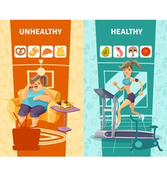 Healthy and unhealthy woman banners set vector