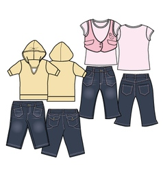 girls fashion casual wear set vector image