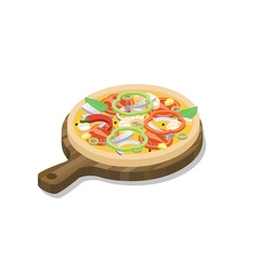 Isometric pizza with fish shrimp onion paprika vector