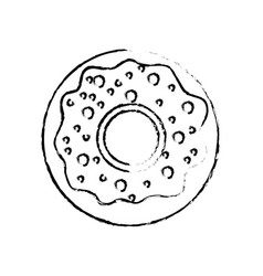 figure delicious sweet donut bakery snack vector image