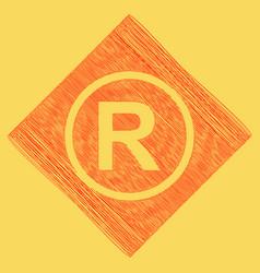 Registered trademark sign  red scribble vector