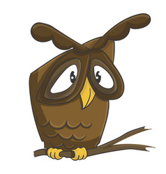Cute owl on the branch cartoon vector