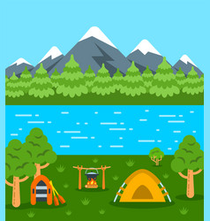 Summer camping tourism flat background vector