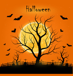 Halloween day with trees bats and a full moon vector