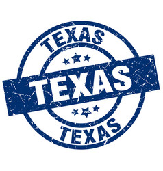 Texas blue round grunge stamp vector