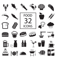 Food drink seafood 32 icons vector