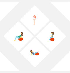 Flat icon pregnancy set of lady pregnancy vector