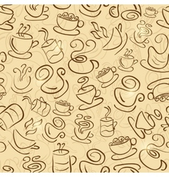 Brown Seamless Pattern with Coffee and Tea Cups vector image
