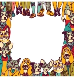 People like cats and dogs border frame isolate vector