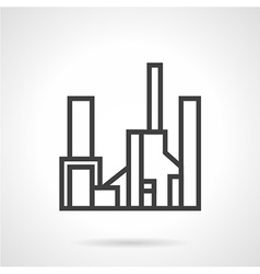Simple line gas factory icon vector