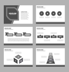 Black presentation templates infographic element vector