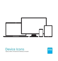 Smartphone tablet laptop and desktop computer vector