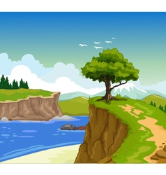 Beauty lake with landscape background vector