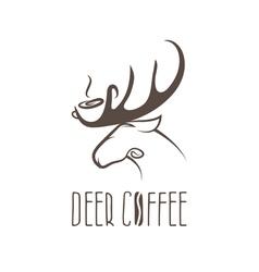 Deer coffee negative space concept design template vector