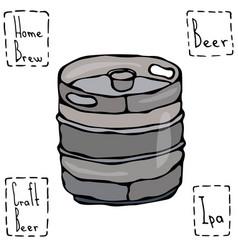 beer metal barrel beer keg doodle style sketch vector image