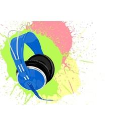 blue headphones vector image vector image