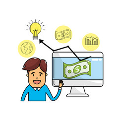 Businessman with computer and statistics bar vector
