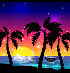 Caribbean sea view with palm trees vector