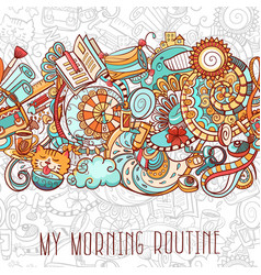 cartoon doodles morning routine vector image
