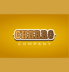 Charro western style word text logo design icon vector