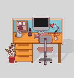 Colorful background work place office interior vector