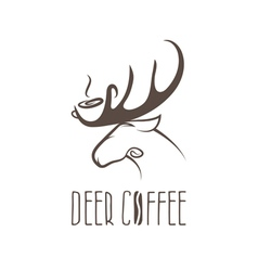 Deer coffee negative space concept design template vector