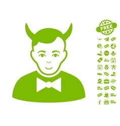 Devil icon with free bonus vector