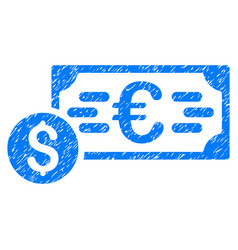 Dollar and euro cash grunge icon vector