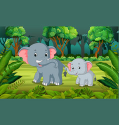 elephant and baby elephant in the forest vector image vector image