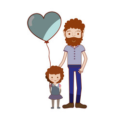 Father with his daughter and heart balloon vector
