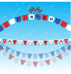 finish and start flags with confetti vector image