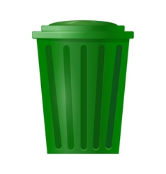 Green bin for garbage on white background vector image vector image