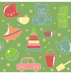 Green seamless pattern with toys vector image