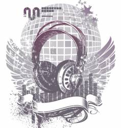 Heraldry with headphones vector