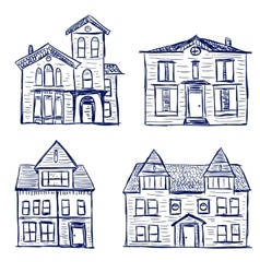 Houses doodles vector
