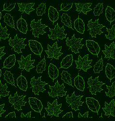 Leaves seamless outline green dark vector