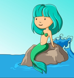 Little mermaid sitting on the rock vector image