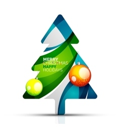 Merry Christmas tree with infographics vector image