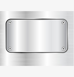 Metal plate background steel nameplate with vector