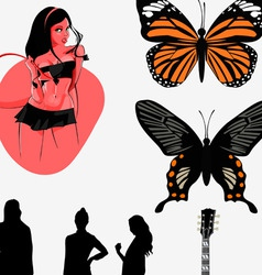 music girl butterfly vector image vector image