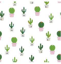 pattern with colorful cactus vector image