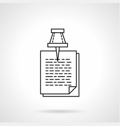 pinned documents flat line icon vector image vector image