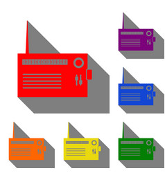 radio sign set of red orange vector image