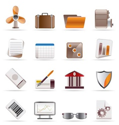 realistic business and office icons vector image vector image