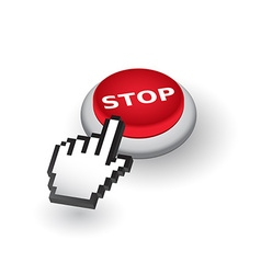 Red Stop push button sign emblem Hand wit vector image