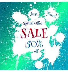 Sale tag with white blot over bright blue vector image vector image