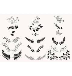 Set of vintage floral elements vector