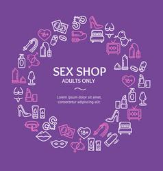 sex shop round design template line icon concept vector image
