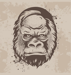 Silhouette snout gorillas monkeys in retro style vector
